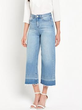 Detroit Denim Flared Jean - pattern: plain; waist: high rise; pocket detail: traditional 5 pocket; style: wide leg; predominant colour: denim; occasions: casual; length: calf length; fibres: cotton - stretch; texture group: denim; pattern type: fabric; season: s/s 2016; trends: riviera chic