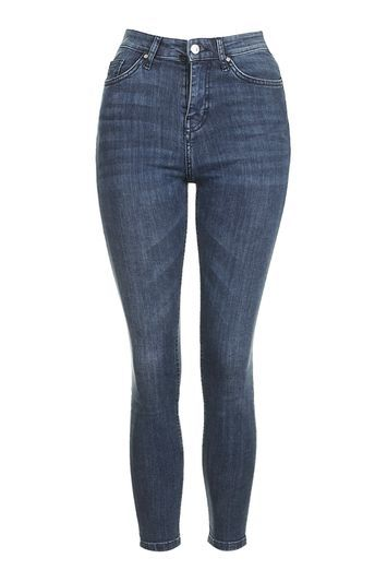 Moto Blue Jamie Jean - style: skinny leg; length: standard; pattern: plain; waist: high rise; pocket detail: traditional 5 pocket; predominant colour: denim; occasions: casual; fibres: cotton - stretch; jeans detail: whiskering; texture group: denim; pattern type: fabric; season: s/s 2016
