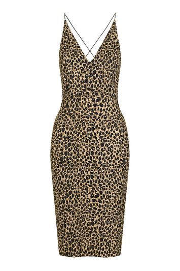 Animal Print Bodycon Dress - neckline: v-neck; sleeve style: spaghetti straps; fit: tight; style: bodycon; predominant colour: stone; secondary colour: black; occasions: casual, evening, creative work; length: on the knee; fibres: viscose/rayon - stretch; back detail: crossover; sleeve length: sleeveless; pattern type: fabric; pattern size: standard; pattern: animal print; texture group: woven light midweight; trends: glossy girl; season: s/s 2016; wardrobe: highlight