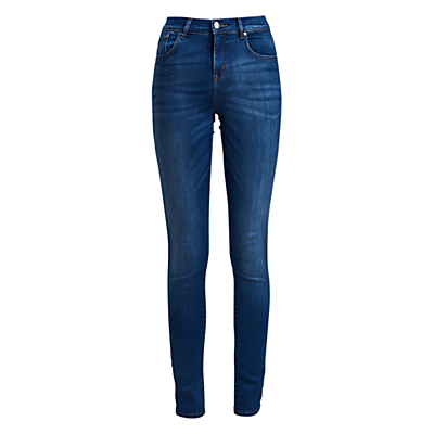 Essential Slim Trousers - length: standard; pattern: plain; pocket detail: traditional 5 pocket; style: slim leg; waist: mid/regular rise; predominant colour: royal blue; occasions: casual, creative work; fibres: cotton - stretch; jeans detail: whiskering; texture group: denim; pattern type: fabric; season: s/s 2016; wardrobe: basic