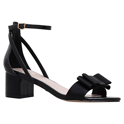 Gertrude Bow Block Heeled Sandals - predominant colour: black; occasions: evening, occasion; material: satin; heel height: mid; ankle detail: ankle strap; heel: block; toe: open toe/peeptoe; style: strappy; finish: plain; pattern: plain; embellishment: bow; season: s/s 2016