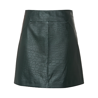Leather Croc A Line Skirt, Dark Green - length: mid thigh; fit: loose/voluminous; waist: high rise; predominant colour: dark green; occasions: evening, creative work; style: a-line; fibres: leather - 100%; texture group: leather; pattern type: fabric; pattern: animal print; pattern size: light/subtle (bottom); season: s/s 2016; wardrobe: highlight