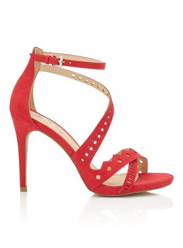Womens Crista Laser Cut Out Sandal, Red - predominant colour: true red; occasions: evening, occasion; material: faux leather; heel height: high; embellishment: studs; ankle detail: ankle strap; heel: stiletto; toe: open toe/peeptoe; style: strappy; finish: plain; pattern: plain; season: s/s 2016; wardrobe: event