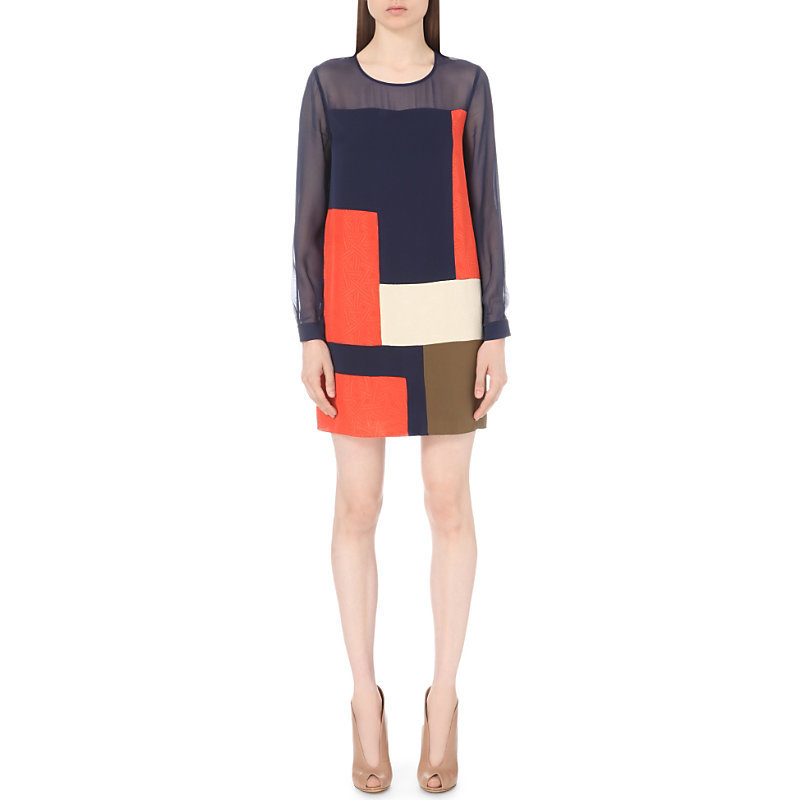 Raegan Silk Dress, Women's, Orange/Black - style: shift; length: mid thigh; neckline: round neck; predominant colour: navy; secondary colour: bright orange; fit: straight cut; fibres: silk - 100%; sleeve length: long sleeve; sleeve style: standard; texture group: silky - light; pattern type: fabric; pattern: colourblock; occasions: creative work; season: s/s 2016; wardrobe: highlight