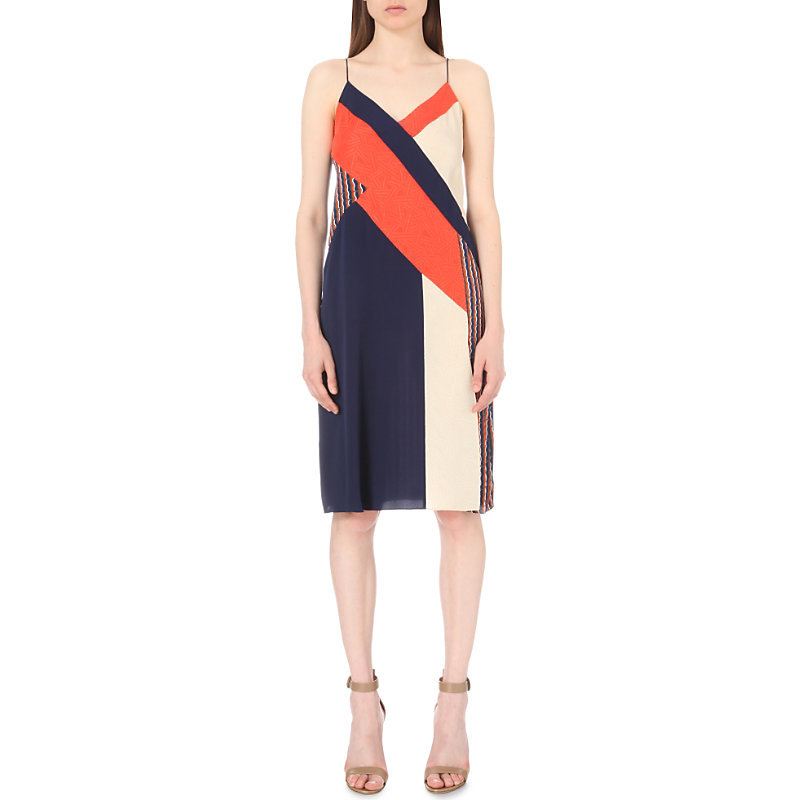 Frederica Stretch Silk Dress, Women's, Rickrack Khaki - neckline: low v-neck; sleeve style: spaghetti straps; style: sundress; predominant colour: navy; secondary colour: bright orange; length: on the knee; fit: body skimming; fibres: silk - 100%; occasions: occasion, creative work; sleeve length: sleeveless; texture group: silky - light; pattern type: fabric; pattern: colourblock; season: s/s 2016