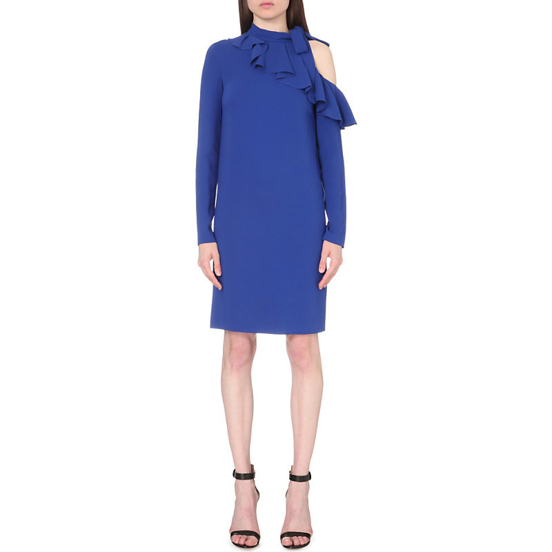 Cold Shoulder Ruffled Stretch Crepe Dress, Women's, Blue - style: shift; pattern: plain; neckline: high neck; predominant colour: royal blue; occasions: evening; length: just above the knee; fit: body skimming; fibres: viscose/rayon - stretch; sleeve length: long sleeve; sleeve style: standard; texture group: crepes; bust detail: bulky details at bust; pattern type: fabric; season: s/s 2016; wardrobe: event