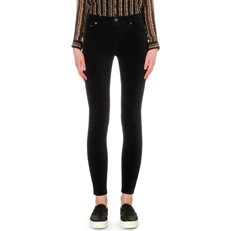 Rocket Skinny High Rise Velvet Jeans, Women's, Beretta - style: skinny leg; length: standard; pattern: plain; pocket detail: traditional 5 pocket; waist: mid/regular rise; predominant colour: black; occasions: casual, creative work; fibres: cotton - stretch; texture group: denim; pattern type: fabric; season: s/s 2016; wardrobe: basic