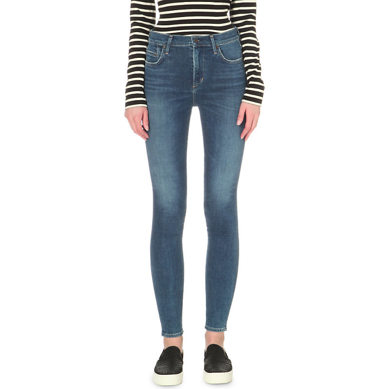 Rocket Super Skinny High Rise Jeans, Women's, Calero - style: skinny leg; length: standard; pattern: plain; waist: high rise; predominant colour: denim; occasions: casual; fibres: cotton - stretch; jeans detail: shading down centre of thigh; texture group: denim; pattern type: fabric; season: s/s 2016