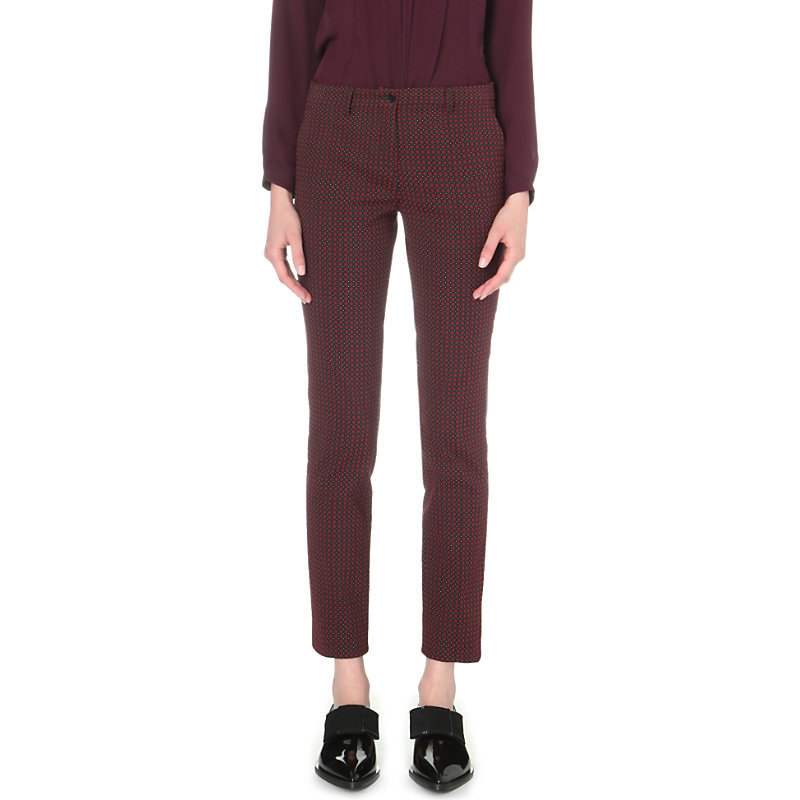 Slim Fit Tapered Jacquard Trousers, Women's, Red - length: standard; pattern: plain; hip detail: front pockets at hip; waist: mid/regular rise; predominant colour: aubergine; occasions: casual, creative work; fibres: cotton - mix; fit: slim leg; pattern type: fabric; texture group: brocade/jacquard; style: standard; season: s/s 2016