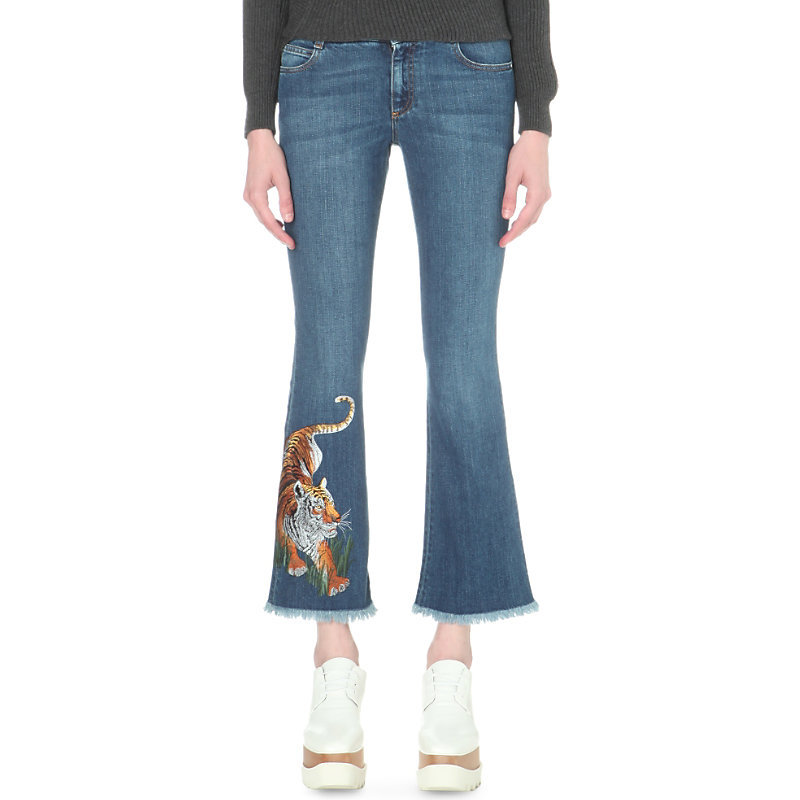 Tiger Embroidered Flared Cropped Mid Rise Jeans, Women's, Blue - style: flares; pattern: plain; pocket detail: traditional 5 pocket; waist: mid/regular rise; predominant colour: denim; occasions: casual; length: ankle length; fibres: cotton - 100%; texture group: denim; pattern type: fabric; embellishment: embroidered; season: s/s 2016; wardrobe: basic