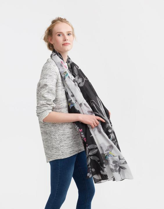 Harmony Scarf Silver Bird Berry - secondary colour: light grey; predominant colour: black; occasions: casual; type of pattern: standard; style: regular; size: large; material: fabric; pattern: florals; multicoloured: multicoloured; season: s/s 2016; wardrobe: highlight