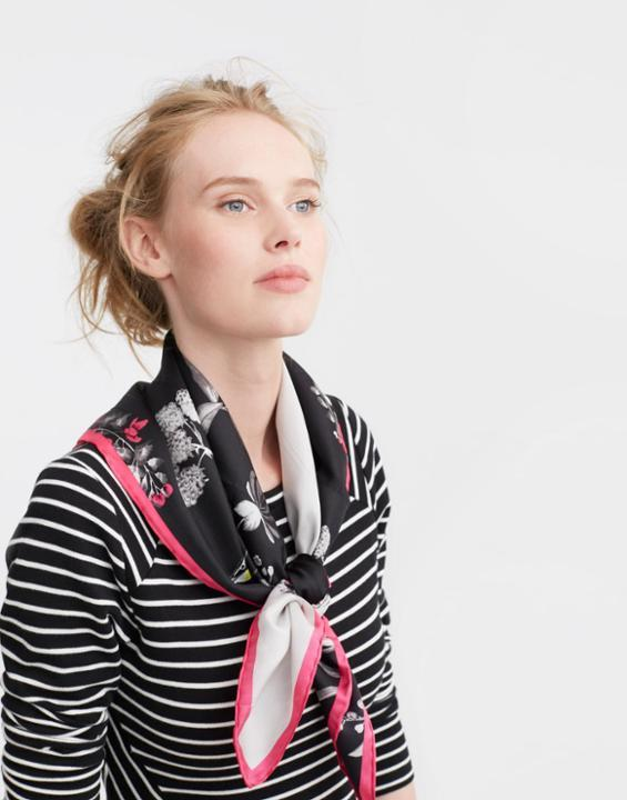 Bloomfield Silk Scarf Black Hedgerow - secondary colour: pink; predominant colour: black; occasions: casual; type of pattern: light; style: regular; size: standard; material: silk; pattern: florals; multicoloured: multicoloured; season: s/s 2016; wardrobe: highlight