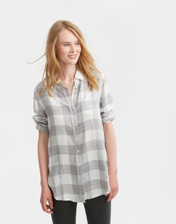 Grey Check Laurel Shirt Size 12 | Uk - neckline: shirt collar/peter pan/zip with opening; pattern: checked/gingham; length: below the bottom; style: shirt; secondary colour: white; predominant colour: light grey; occasions: casual; fibres: viscose/rayon - 100%; fit: loose; sleeve length: 3/4 length; sleeve style: standard; pattern type: fabric; texture group: woven light midweight; pattern size: big & busy (top); multicoloured: multicoloured; season: s/s 2016; wardrobe: highlight