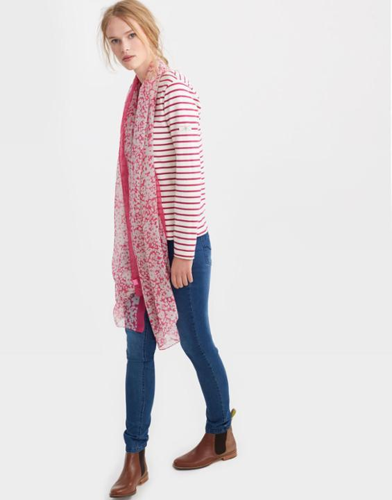 True Pink Ditsy Wensley Scarf Size One Size | Uk - predominant colour: pink; secondary colour: blush; occasions: casual; type of pattern: light; style: regular; size: standard; material: fabric; pattern: florals; season: s/s 2016; wardrobe: highlight