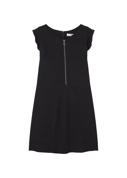 Zipped Dress - style: shift; length: mini; neckline: v-neck; sleeve style: capped; pattern: plain; predominant colour: black; occasions: evening; fit: body skimming; fibres: viscose/rayon - 100%; sleeve length: short sleeve; pattern type: fabric; texture group: other - light to midweight; season: s/s 2016; wardrobe: event