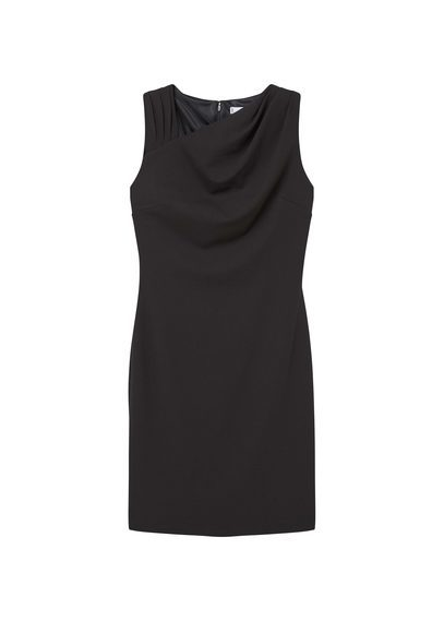 Draped Neck Dress - style: shift; pattern: plain; sleeve style: sleeveless; neckline: asymmetric; predominant colour: black; occasions: evening; length: just above the knee; fit: body skimming; fibres: polyester/polyamide - stretch; sleeve length: sleeveless; pattern type: fabric; texture group: jersey - stretchy/drapey; season: s/s 2016; wardrobe: event