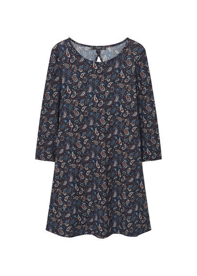 Back Vent Dress - style: shift; length: mini; neckline: round neck; pattern: paisley; predominant colour: navy; occasions: casual; fit: body skimming; fibres: polyester/polyamide - stretch; sleeve length: 3/4 length; sleeve style: standard; pattern type: fabric; texture group: other - light to midweight; multicoloured: multicoloured; season: s/s 2016; wardrobe: highlight