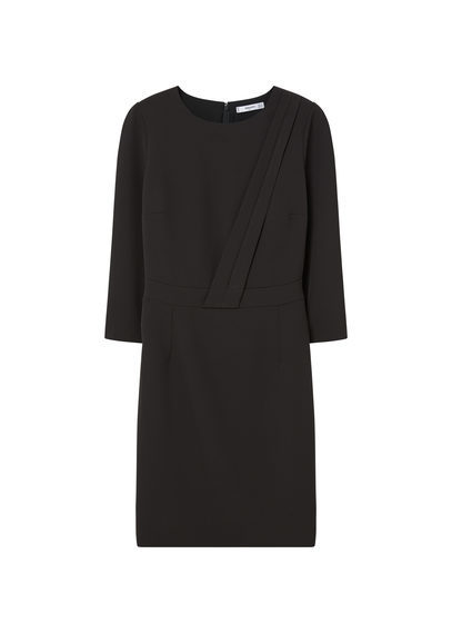 Crepe Dress - style: shift; fit: tailored/fitted; pattern: plain; predominant colour: black; occasions: evening; length: just above the knee; fibres: polyester/polyamide - stretch; neckline: crew; sleeve length: 3/4 length; sleeve style: standard; texture group: crepes; pattern type: fabric; season: s/s 2016; wardrobe: event