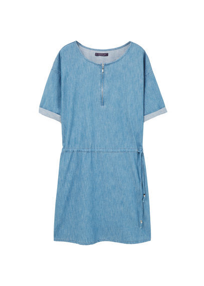 Light Denim Dress - style: t-shirt; length: mini; neckline: round neck; pattern: plain; predominant colour: pale blue; occasions: casual; fit: body skimming; fibres: cotton - 100%; sleeve length: short sleeve; sleeve style: standard; texture group: denim; pattern type: fabric; season: s/s 2016