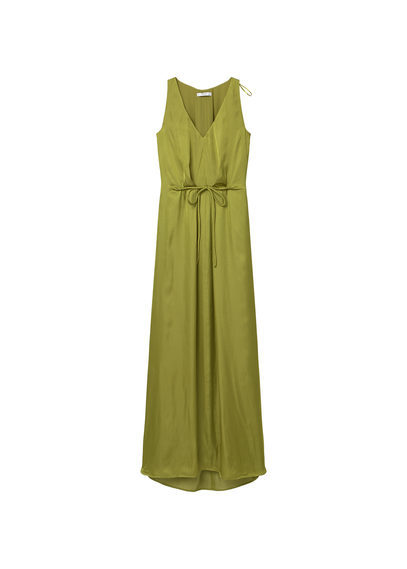 Flowy Long Dress - neckline: v-neck; pattern: plain; sleeve style: sleeveless; style: maxi dress; predominant colour: khaki; occasions: evening; length: floor length; fit: body skimming; fibres: polyester/polyamide - 100%; sleeve length: sleeveless; pattern type: fabric; texture group: other - light to midweight; season: s/s 2016; wardrobe: event