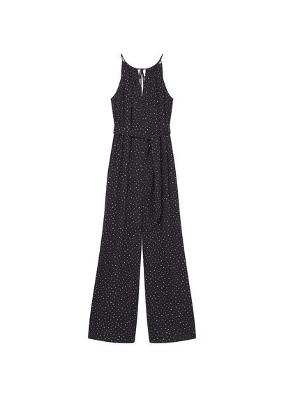 Long Printed Jumpsuit - length: standard; sleeve style: sleeveless; pattern: polka dot; waist detail: belted waist/tie at waist/drawstring; secondary colour: white; predominant colour: navy; occasions: evening; fit: body skimming; neckline: peep hole neckline; fibres: viscose/rayon - 100%; sleeve length: sleeveless; style: jumpsuit; pattern type: fabric; texture group: other - light to midweight; multicoloured: multicoloured; season: s/s 2016; wardrobe: event