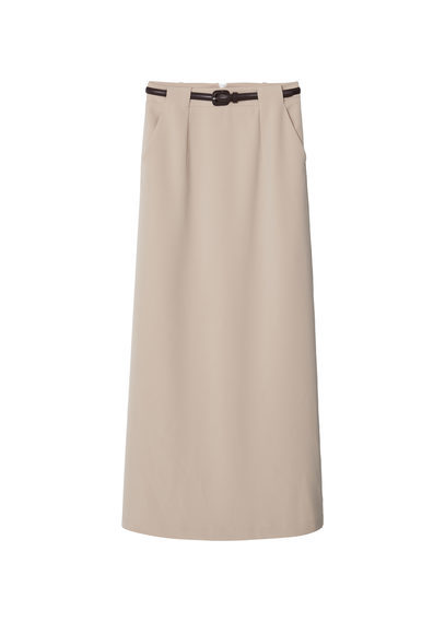 Belt Long Skirt - pattern: plain; length: ankle length; fit: body skimming; waist: mid/regular rise; predominant colour: stone; occasions: casual; style: maxi skirt; fibres: polyester/polyamide - stretch; waist detail: narrow waistband; pattern type: fabric; texture group: other - light to midweight; season: s/s 2016