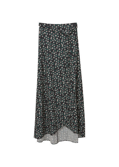 Flowy Printed Skirt - length: ankle length; fit: loose/voluminous; waist: mid/regular rise; secondary colour: light grey; predominant colour: black; occasions: casual, creative work; style: maxi skirt; fibres: polyester/polyamide - stretch; pattern type: fabric; pattern: patterned/print; texture group: jersey - stretchy/drapey; pattern size: standard (bottom); season: s/s 2016; wardrobe: highlight
