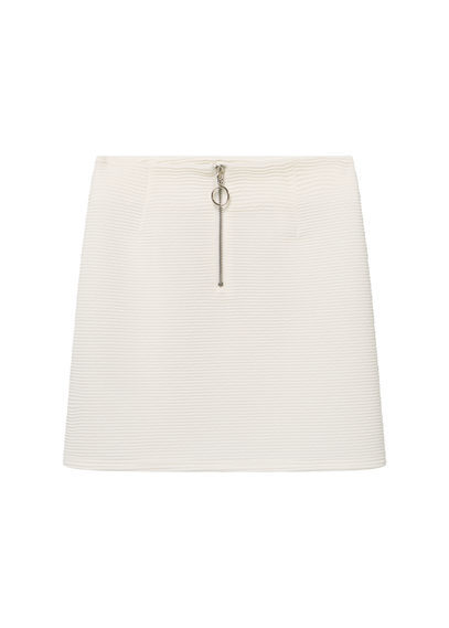 Zip Skirt - length: mini; pattern: plain; fit: tight; waist: mid/regular rise; predominant colour: white; occasions: casual; style: mini skirt; fibres: polyester/polyamide - stretch; pattern type: fabric; texture group: woven light midweight; embellishment: zips; season: s/s 2016