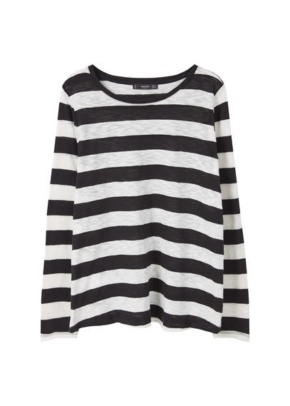 Flecked Cotton Blend T Shirt - neckline: round neck; pattern: horizontal stripes; style: t-shirt; secondary colour: white; predominant colour: black; occasions: casual; length: standard; fibres: cotton - mix; fit: body skimming; sleeve length: long sleeve; sleeve style: standard; pattern type: fabric; texture group: jersey - stretchy/drapey; multicoloured: multicoloured; season: s/s 2016; wardrobe: basic