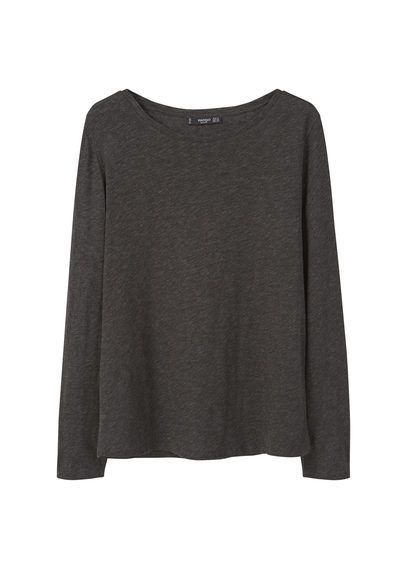 Flecked Cotton Blend T Shirt - neckline: round neck; pattern: plain; style: t-shirt; predominant colour: charcoal; occasions: casual; length: standard; fibres: cotton - mix; fit: body skimming; sleeve length: long sleeve; sleeve style: standard; pattern type: fabric; texture group: jersey - stretchy/drapey; season: s/s 2016; wardrobe: basic