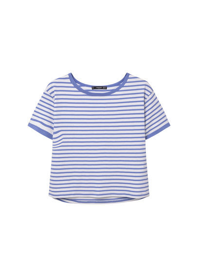 Striped Cotton T Shirt - pattern: horizontal stripes; style: t-shirt; predominant colour: white; secondary colour: pale blue; occasions: casual; length: standard; fibres: cotton - 100%; fit: body skimming; neckline: crew; sleeve length: short sleeve; sleeve style: standard; pattern type: fabric; texture group: jersey - stretchy/drapey; multicoloured: multicoloured; season: s/s 2016; wardrobe: highlight