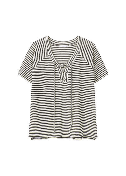Striped Cotton T Shirt - neckline: v-neck; pattern: horizontal stripes; style: t-shirt; secondary colour: white; predominant colour: black; occasions: casual; length: standard; fibres: cotton - mix; fit: body skimming; sleeve length: short sleeve; sleeve style: standard; pattern type: fabric; texture group: jersey - stretchy/drapey; multicoloured: multicoloured; season: s/s 2016; wardrobe: basic