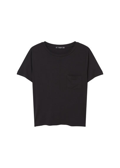 Pocket T Shirt - neckline: round neck; pattern: plain; style: t-shirt; predominant colour: black; occasions: casual; length: standard; fibres: viscose/rayon - stretch; fit: body skimming; sleeve length: short sleeve; sleeve style: standard; pattern type: fabric; texture group: jersey - stretchy/drapey; season: s/s 2016; wardrobe: basic