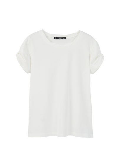 Rolled Up Sleeves T Shirt - pattern: plain; style: t-shirt; predominant colour: white; occasions: casual; length: standard; fibres: cotton - 100%; fit: body skimming; neckline: crew; sleeve length: short sleeve; sleeve style: standard; pattern type: fabric; texture group: jersey - stretchy/drapey; season: s/s 2016; wardrobe: basic