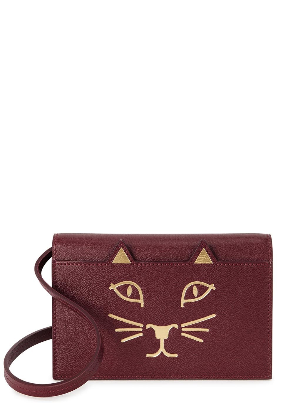 Feline Burgundy Leather Cross Body Bag - predominant colour: burgundy; secondary colour: gold; occasions: casual; type of pattern: standard; style: messenger; length: across body/long; size: small; material: leather; finish: metallic; pattern: patterned/print; season: s/s 2016; wardrobe: highlight
