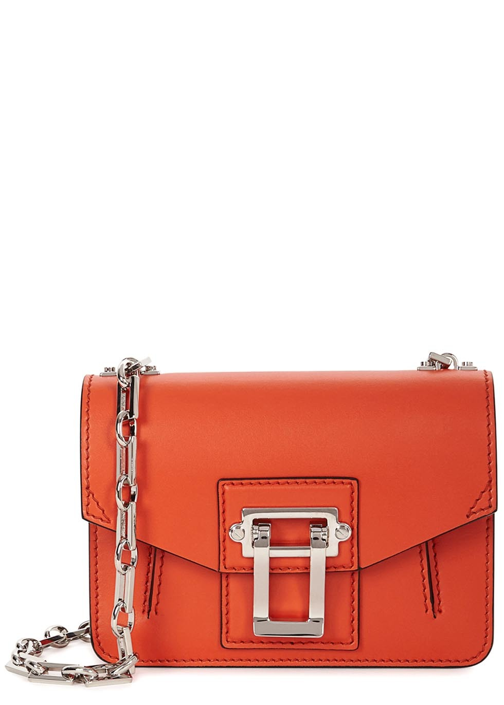 Hava Orange Leather Cross Body Bag - predominant colour: bright orange; secondary colour: silver; occasions: casual; type of pattern: standard; style: messenger; length: across body/long; size: small; material: leather; pattern: plain; finish: plain; embellishment: chain/metal; season: s/s 2016; wardrobe: highlight