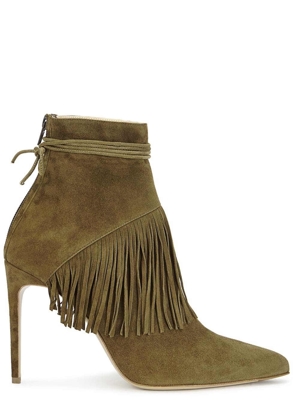 Sahar Olive Fringed Suede Ankle Boots - predominant colour: khaki; occasions: casual; material: suede; heel: stiletto; toe: pointed toe; boot length: ankle boot; style: standard; finish: plain; pattern: plain; embellishment: fringing; heel height: very high; season: s/s 2016