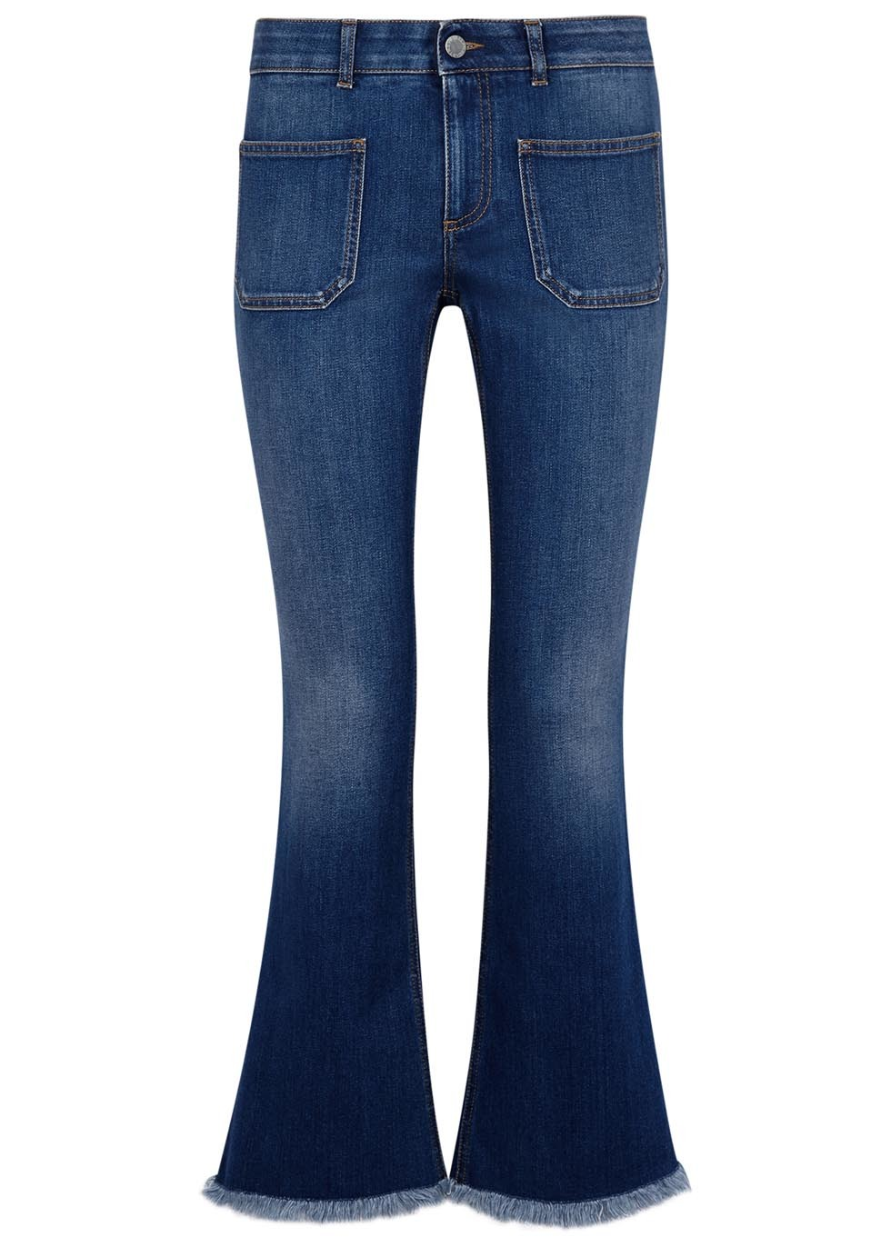 Blue Flared Denim Jeans - style: bootcut; length: standard; pattern: plain; waist: mid/regular rise; predominant colour: navy; occasions: casual; fibres: cotton - stretch; texture group: denim; pattern type: fabric; season: s/s 2016; wardrobe: basic