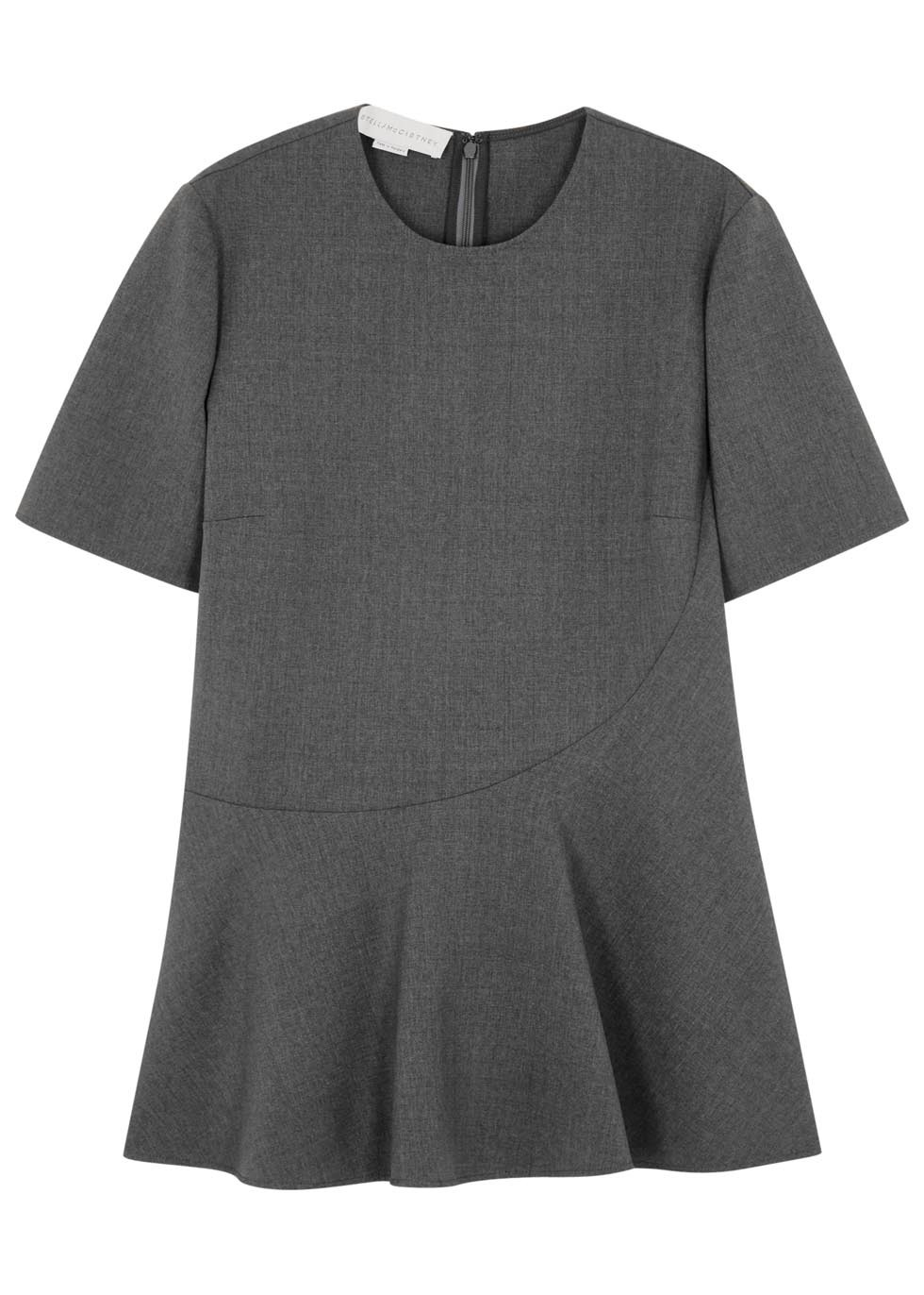 Grey Flared Stretch Wool Top - pattern: plain; predominant colour: charcoal; occasions: casual; length: standard; style: top; fibres: wool - stretch; fit: tailored/fitted; neckline: crew; sleeve length: short sleeve; sleeve style: standard; pattern type: fabric; texture group: woven light midweight; season: s/s 2016; wardrobe: basic