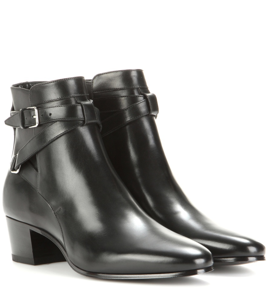 Blake 40 Jodhpur Leather Ankle Boots - predominant colour: black; occasions: casual, creative work; material: leather; heel height: mid; embellishment: buckles; heel: block; toe: round toe; boot length: ankle boot; style: standard; finish: plain; pattern: plain; season: s/s 2016; wardrobe: basic