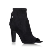 Calissa - predominant colour: black; occasions: evening; material: suede; heel height: high; heel: standard; toe: open toe/peeptoe; boot length: ankle boot; style: standard; finish: plain; pattern: plain; season: s/s 2016