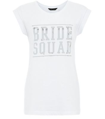 White Bride Squad Foil Roll Sleeve T Shirt - style: t-shirt; predominant colour: white; occasions: casual; length: standard; fibres: cotton - 100%; fit: body skimming; neckline: crew; sleeve length: short sleeve; sleeve style: standard; pattern type: fabric; texture group: jersey - stretchy/drapey; pattern: graphic/slogan; season: s/s 2016; wardrobe: highlight; embellishment location: bust