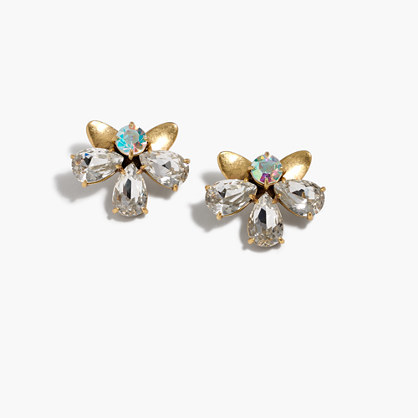 Crystal Blossom Earrings - predominant colour: gold; occasions: casual, evening, creative work; style: stud; length: short; size: large/oversized; material: chain/metal; fastening: pierced; finish: plain; embellishment: jewels/stone; season: s/s 2016; wardrobe: basic