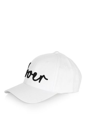 Lover Cap - predominant colour: ivory/cream; secondary colour: black; occasions: casual; type of pattern: standard; embellishment: embroidered; style: cap; size: standard; material: fabric; pattern: colourblock; season: s/s 2016