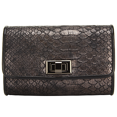 Mini Clutch Bag - occasions: evening, occasion; type of pattern: standard; style: clutch; length: hand carry; size: small; material: leather; pattern: plain; finish: plain; predominant colour: pewter; season: s/s 2016; wardrobe: event