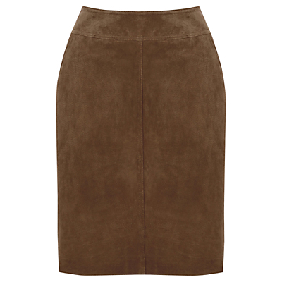 Suede Skirt - length: mid thigh; pattern: plain; style: pencil; fit: tailored/fitted; waist: mid/regular rise; predominant colour: chocolate brown; occasions: evening, creative work; fibres: leather - 100%; pattern type: fabric; texture group: suede; season: s/s 2016