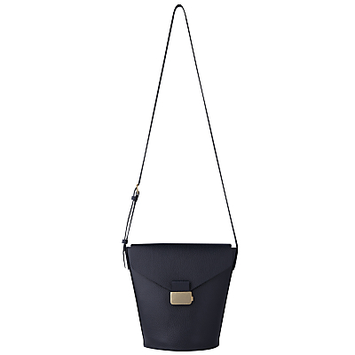 Artesia Presslock Leather Bucket Bag - predominant colour: navy; occasions: casual, creative work; type of pattern: standard; style: shoulder; length: across body/long; size: standard; material: leather; pattern: plain; finish: plain; season: s/s 2016
