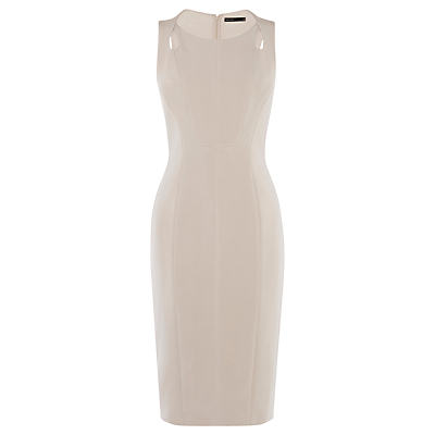 Pencil Dress, Neutral - style: shift; neckline: round neck; fit: tailored/fitted; pattern: plain; sleeve style: sleeveless; predominant colour: stone; occasions: evening, occasion; length: just above the knee; fibres: polyester/polyamide - stretch; sleeve length: sleeveless; texture group: crepes; pattern type: fabric; season: s/s 2016; wardrobe: event