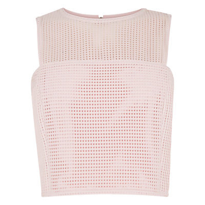 Linear Shell Top, Light Pink - pattern: plain; sleeve style: sleeveless; length: cropped; predominant colour: blush; occasions: evening, occasion; style: top; fibres: polyester/polyamide - 100%; fit: straight cut; neckline: crew; sleeve length: sleeveless; texture group: linen; pattern type: fabric; shoulder detail: sheer at shoulder; season: s/s 2016; wardrobe: event