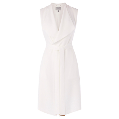 Paradis Sleeveless Jacket, Ivory - pattern: plain; sleeve style: sleeveless; collar: wide lapels; predominant colour: ivory/cream; fit: tailored/fitted; fibres: polyester/polyamide - 100%; occasions: occasion, creative work; style: waistcoat; length: mid thigh; waist detail: belted waist/tie at waist/drawstring; sleeve length: sleeveless; texture group: crepes; collar break: medium; pattern type: fabric; season: s/s 2016; wardrobe: investment